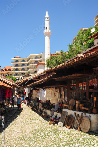 Tourists shopping at the bazar of Kruja on Albania Wallpaper Mural