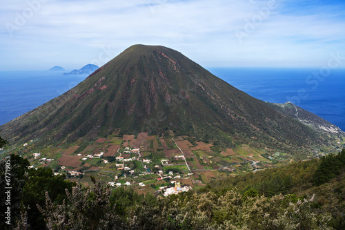 Italian Aeolian Islands mountain volcano in Sicily
