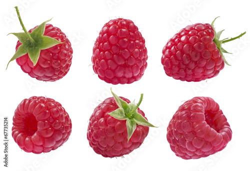 Cuadros en Lienzo Collection of raspberry isolated on white background