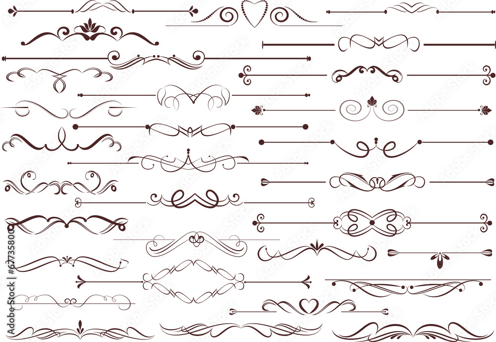 Fototapety, obrazy: Set of  calligraphic elements for editable and design