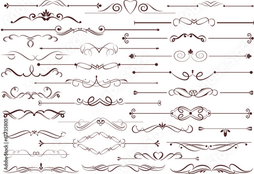 Fotografía  Set of  calligraphic elements for editable and design