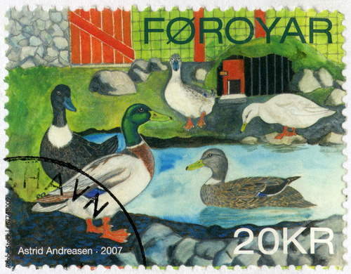Photo  FAROE ISLANDS - 2007: shows Ducks by Astrid Andreasen, series Do