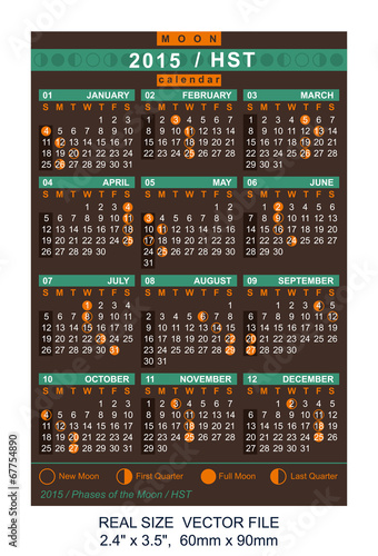 Fotografie, Tablou  vector calendar 2015 with Phases of the moon/ HST