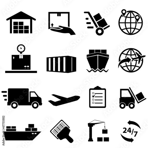 Fotografie, Obraz  Shipping and logistics icons