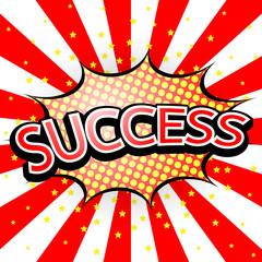Comic Speech Red Bubble success, Vector illustration
