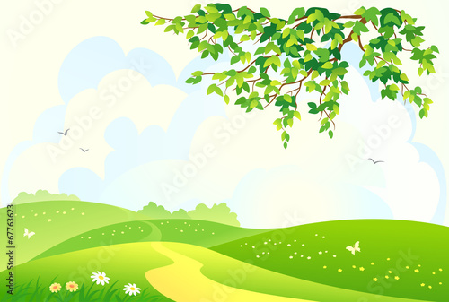 Deurstickers Lime groen Green rural landscape
