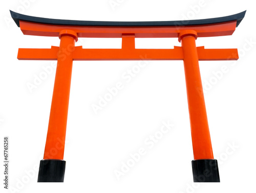 Torii traditional Japanese gate isolated on white. Wall mural