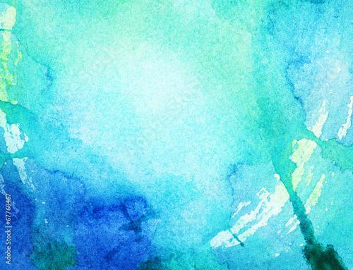 Plakat Malowane niebieskie tło akwarela.