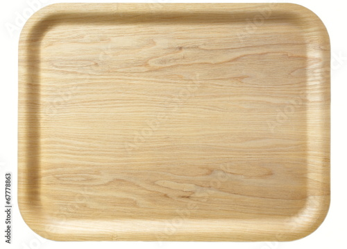 Obraz na plátně Brown wooden tray isolated on white background