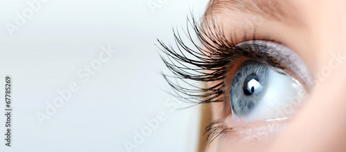Fotografia  Female eye with long eyelashes close-up