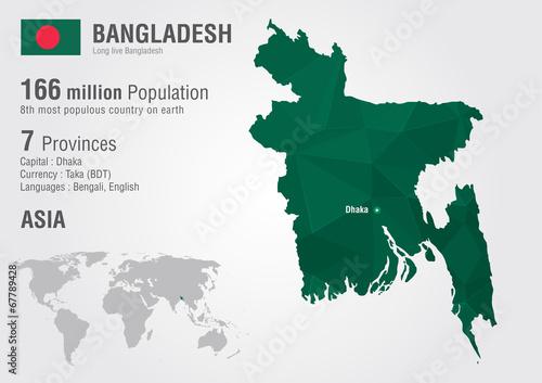 Bangladesh world map woth a pixel diamond texture. Canvas Print