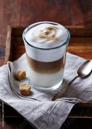 Fotografie, Obraz  Glass of Latte Macchiato with Brown Sugar