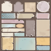 Various Old Remnant Pieces Of Paper, Scrapbook, And Note Board (