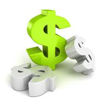 Big Green Dollar Currency Symbol On White