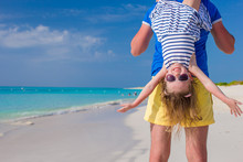 Happy Father And His Little Cute Girl Enjoy Summer Vacation At