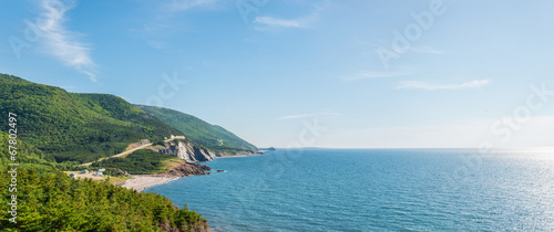 Foto Panorama of a coastal scene on the cabot trail
