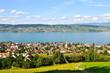 Aussicht auf  Stadt Wädenswil über  Zürichsee bis nach Männedorf