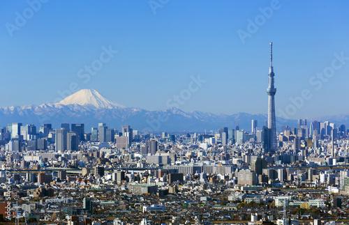 Spoed Foto op Canvas Tokyo [東京都市風景]快晴青空・富士山と東京スカイツリー・東京都心の高層ビル群を一望