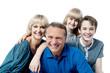 Happy family on white background