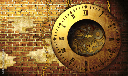 Carta da parati Steampunk clock