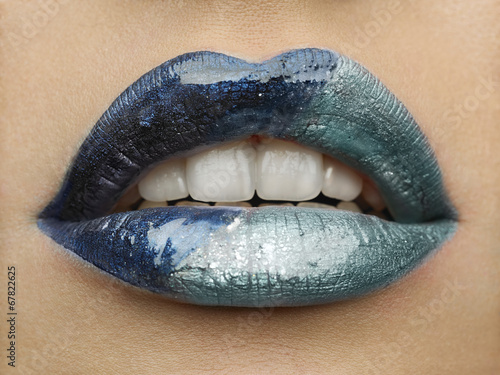 close-up of beautiful womanish lips Tableau sur Toile