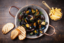 Mussels In Copper Cooking Dish...