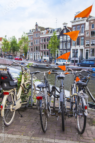 Photo  Amsterdam, Netherlands, on July 7, 2014. Bicycle parking