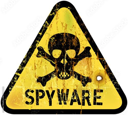 Fotografía  spyware or computer virus warning sign, vector illustration