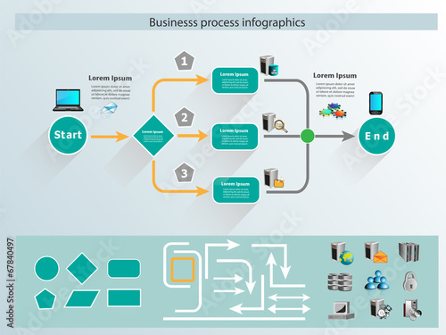 Fototapeta Business process infographics and reusable icon obraz