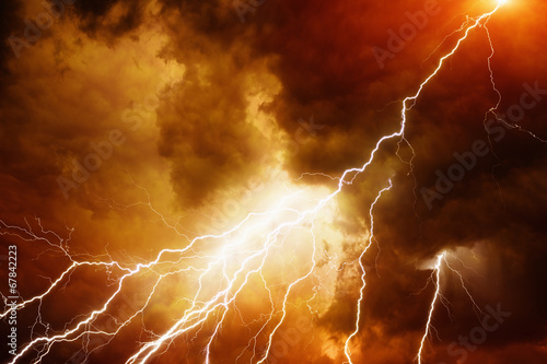 Deurstickers Onweer Light in dark red sky