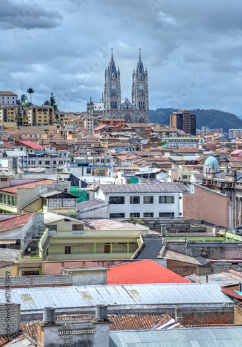 Recess Fitting City building View of the city of Quito with the Basilica Churh