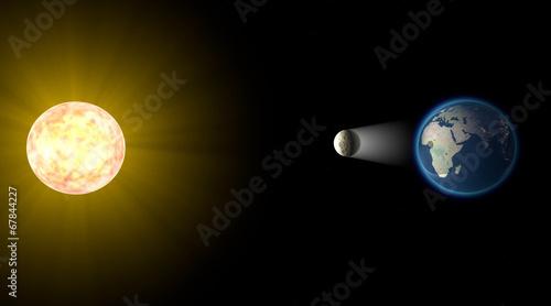 Obraz Eclissi solare, spazio terra luna sole - fototapety do salonu