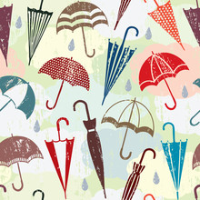 Grunge Vector Seamless Pattern With Clouds And Umbrellas