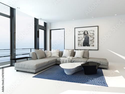 Fotografía Modern waterfront apartment interior