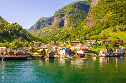Obraz na plátně Aurlandsfjorden - Undredal in Norway