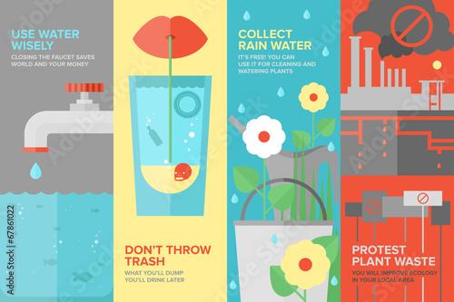 Fotografía  Water savings flat banner set