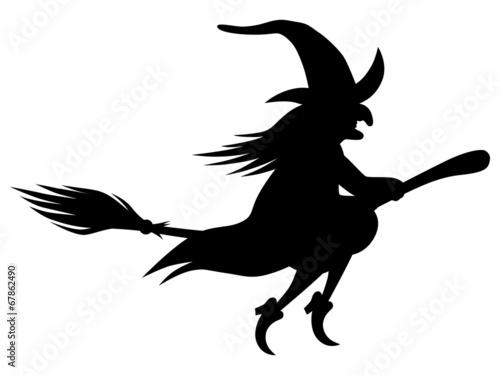 Fotografie, Obraz  Fliegende Hexe auf einem Besen – Vektor/freigestellt