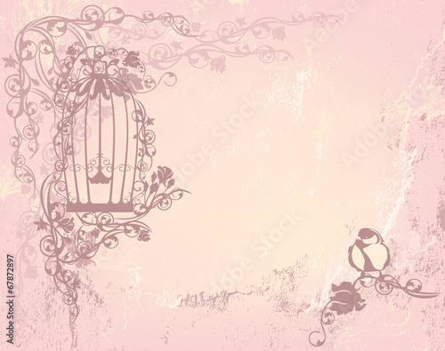Fotografie, Obraz  vintage rose garden with open cage and bird