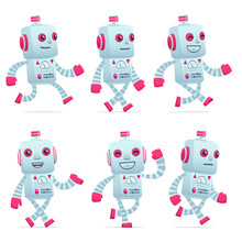 Set Of Robot Character In Diff...