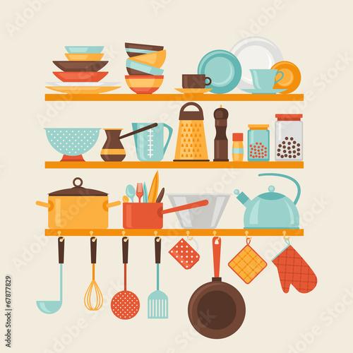 Karta z półkami kuchennymi i przyborami kuchennymi w stylu retro.