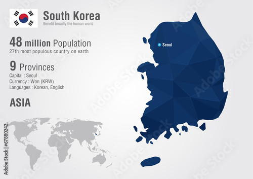 Photo South Korea world map with a pixel diamond texture.