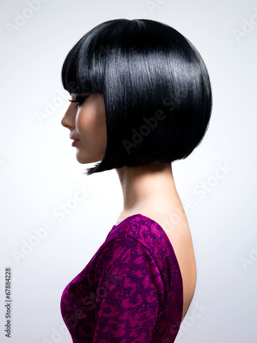 Beautiful woman with short hairstyle. Poster
