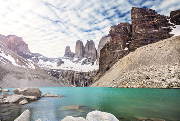 Mountains and lake in Torres del Paine National Park, Patagonia, Chile.