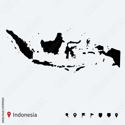 High detailed vector map of Indonesia with navigation pins. Wallpaper Mural