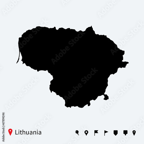 High detailed vector map of Lithuania with navigation pins