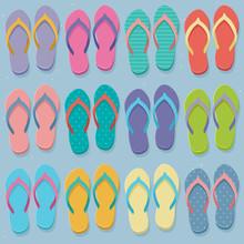 Big Set Of Colorful Flip Flops