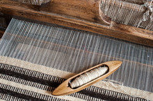 Hungarian Traditional Homespun. Traditional Weaving Hand-loom For Carpets In Transylvania.