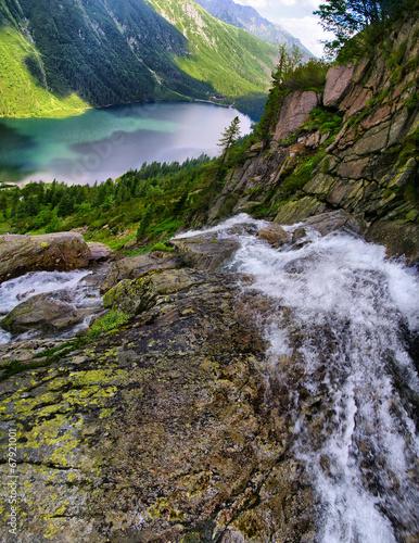 Beautiful scenery of Tatra mountains and waterfall