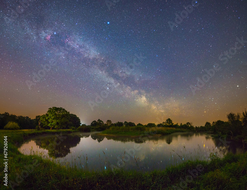 Photo Stands Night blue Starry night landscape