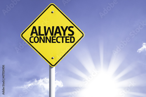 Fotografie, Obraz  Always Connected road sign with sun background
